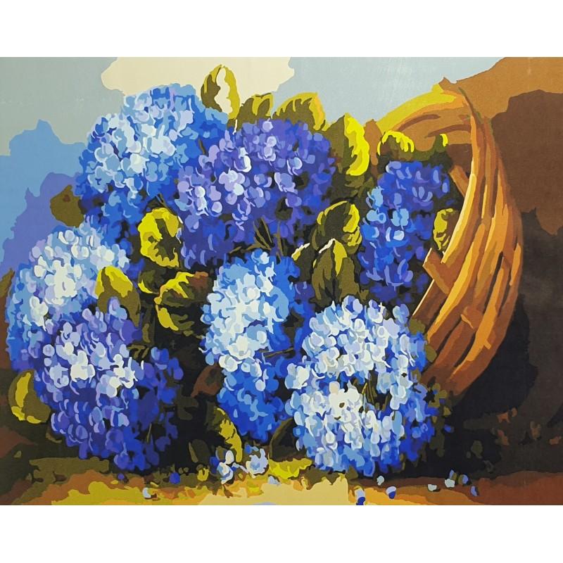 Рисуване по номера - Сини хортензии
