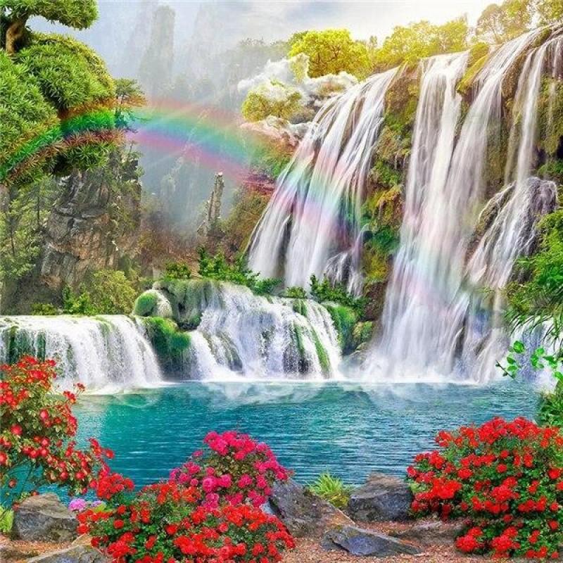 Premium Диамантен гоблен - Райски водопад, 30х40см, кръгли мъниста